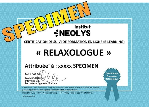 CERTIFICATION-RELAXOLOGUE